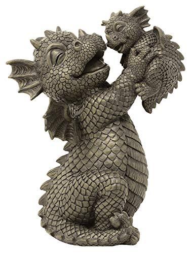 Figura de dragón de jardín para bebé, diseño de madre con bebé