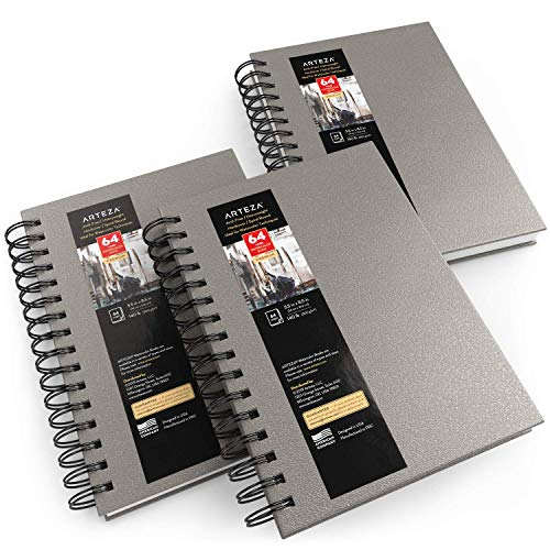 "Arteza Cuadernos de acuarela, 5.5x8.5"" (14 x 21,6 cm), pack 3 blocs, 96 hojas, tapa dura gris, papel 300 gsm, encuadernado en espiral para acuarela, gouache, acrílico, lápiz, medios húmedos y secos"