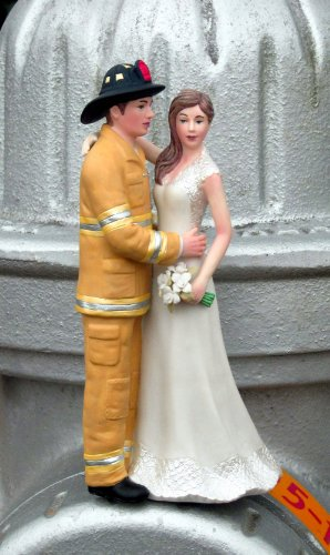 Figurine of Bride with Firefighter Groom