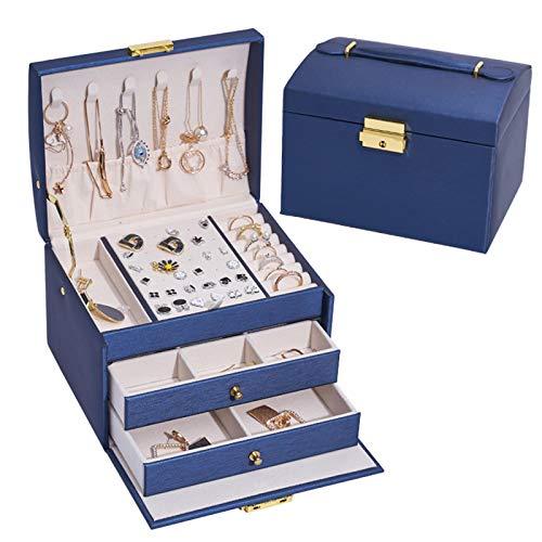 Swadal Joyero de tres capas portátil de piel sintética de poliuretano para anillos y pendientes, regalo para niñas y mujeres, 17 x 14 x 13 cm, color azul