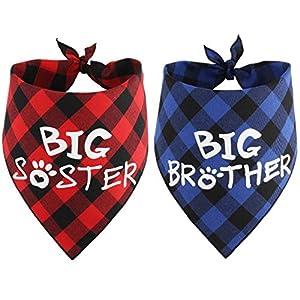 JPB Big Brother Big Sister Dog Bandana Baby Pregnancy Announcement Gender Reveal Bandanas for Dogs