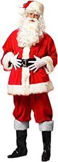 Christmas Santa Claus Costumes Plush Men's Pub Flannel Crawl Santa Suit Xmas Suit (Red)