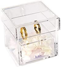 Aila Acrylic Clear Ring Holder Crystal Jewelry Ring Box for Gifts Wedding Without Flowers (Clear)