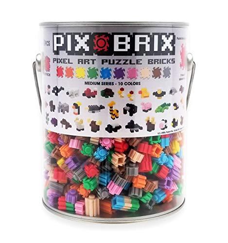 Pix Brix Pixel Art Puzzle Bricks Paint Can – 1,500 Piece Pixel Art Kit with 10 Colors, Medium Palette – Patented Interlocking Building Bricks, Create 2D and 3D Builds – Ages 6 Plus