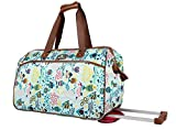Lily Bloom Luggage Designer Pattern Suitcase Wheeled Duffel Carry On Bag (22in, Aquarium Life)