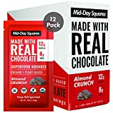 Mid-Day Squares High Protein Chocolate Bars, 2.4 Oz, 12 Pack, Almond Butter Flavour | High 12g Protein, 8g Fiber, Real Chocolate, Vegan, 100% Organic, Low Sugar, Gluten-Free