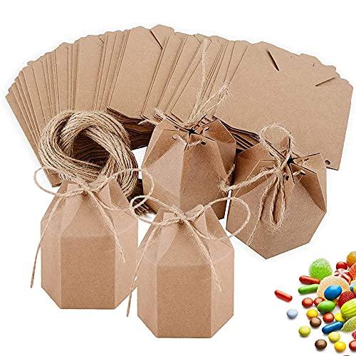 30 Piezas Caja Del Favor De La Boda, Caja De Regalo De Fiesta De Bricolaje, Papel Kraft Hexagonal Caramelo Cajas Regalo Para Bodas, Fiestas De Cumpleaños, Aniversarios (Marrón)