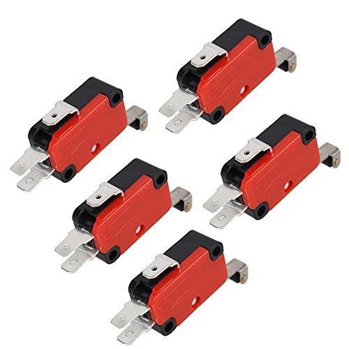 BQLZR V-156-1C25 - Interruptor de micro límite con bisagra larga y brazo de palanca SPDT momentáneo, 5 unidades