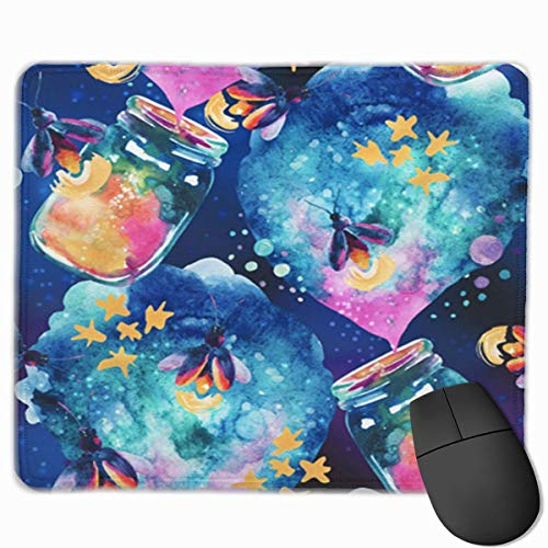 Nettes Gaming-Mauspad, Schreibtisch-Mauspad, kleine Mauspads für Laptop-Computer, abstrakte Märchen-Zauberflasche der Mausmatte und Glühwürmchen-Aquarell-Laterne