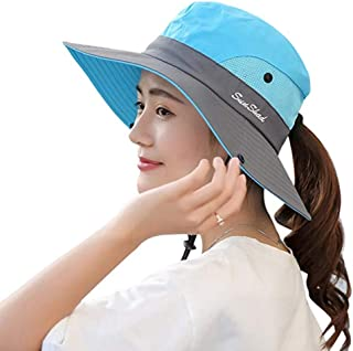 KPWIN Sun Hats for Women, Women's Ponytail Bucket Hat Outdoor UV Protection Foldable Mesh Wide Brim Beach Fishing Hat