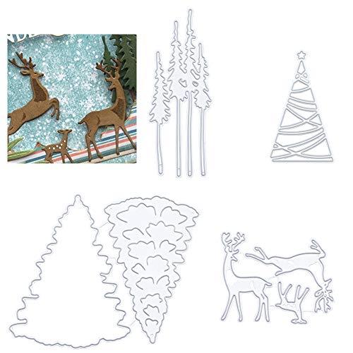 DXiongW 4 Ensembles Sapin de Noël Dies de Découpe Scrapbooking Noel Matrices à Découper en Métal de Cerf de Wapiti pour DIY Noël Papier Cartes Artisanat Cadeau Décoration de La Maison (Argent)