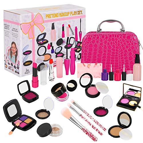 Winload Pretend Makeup Set, 22 Stück Girl Spiel-Makeup-Set für Kinder, Falsch Kinderschminke Spielzeug mit Kosmetiktasche für Kleine Mädchen (kein echtes Makeup), Über 3 Jahre Alt