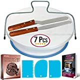 Cake Turntable and Leveler-Rotating Cake Stand with non slip pad-...