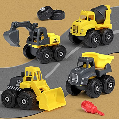 MORITA BOKUJO Take Apart Toys 4 in one Construction Truck Take Apart Toy for Boys Girls Gift Toys for Boys Grils 3,4,5,6,7 Year Olds Kids Stem Building Toy (Yellow)