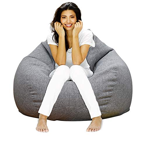 Lmeison Bean Bag Chair Cover(No Filler), Adults Bird's Nest Beanbag Extra Large for Organizing Children Plush Toys or Memory Foam, Home Decor Comfy Seat Sofa Cover for Women Men, (40'x 48') 300L, Grey