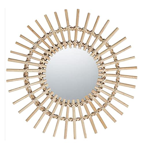 Espejo Decorativo Con Marco De Ratán, Decoración De Maquillaje, Espejo De Baño, Pared Para Colgar En La Pared(Size:58 x58 cm)