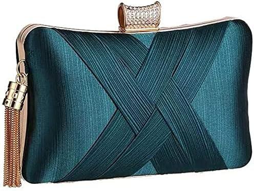 Women's Evening Handbags Fringed Woven Evening Bag Banquet Clutch Bag Cheongsam Bridesmaid Bag, Suitable for Wedding, Party (Color : Green)