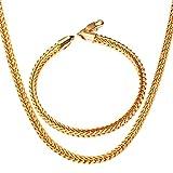 Aeici Conjunto de Joyas de Acero Inoxidable Collar de Cadena Hombre Pulsera Hombre Cadena Cadena de Trigo de 4 Mm de Ancho Oro Pulsera 8.3 Inchs,Collar Cadena 26Inch