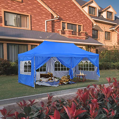 HYD-Parts Outdoor Patio 10x20 Ft Pop up Canopy Party Wedding Gazebo Tent (10x20 Ft, Blue)