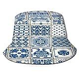 TTLUCKY Sombrero de Pesca,Azulejo de Pintura Indigo Portugal Lisbon Set,Senderismo para Hombres y Mujeres al Aire Libre Sombrero de Cubo Sombrero para...