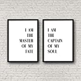Lplpol I Am The Master of My Fate Poem Printable Wall Art Inspirational Quotes Motivational Poster Nursery Decor Boy Dad Gift Poetry Print