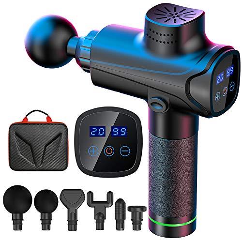 EKUPUZ Massagepistole für Nacken Schulter Rücken Muskel Massagegerät Mit 6 Massageköpfen und 20 Geschwindigkeiten Elektrisches Handmassagegeräte - Schwarz