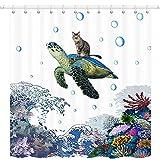 Funny Ocean Turtle Duschvorhang-Set, Katze reitende Schildkröte mit großer Welle & Koralle auf Meer, Badezimmervorhang mit Haken, wasserdichtes Polyestergewebe Badezimmer 175,3 x 190,5 cm
