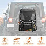 Spare Tire Trash Bag, JoyTutus Upgraded Fits 40' Tire 31 Gallons Larger Capacity Cargo Spare Tire Storage Bag for Off-Road Camping Recovery Gear Firewood Multi-Pockets Organizer for Wrangler JK JKU JL