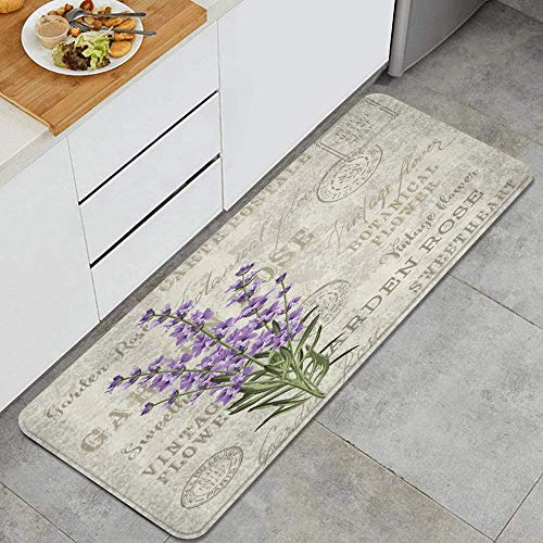 Vintage Postcard Farm Style Rustic Flowers Floral Grunge Herbs Leaves Lavender Anti Fatigue Kitchen Mat Comfort Floor Mats Non-Slip Oil Stain Resistant Easy to Clean Kitchen Rug