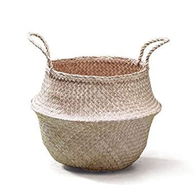 Sosibon Large Seagrass Belly Basket With Handles For Storage (Natural)