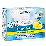 HAKA WC Aktiv Tabs I 8 Tabs I Toilettenreiniger zum Entfernen von Kalk, Urinstein und Schmutz I Toiletten Tabs mit Zitronen Duft I Phosphatfrei