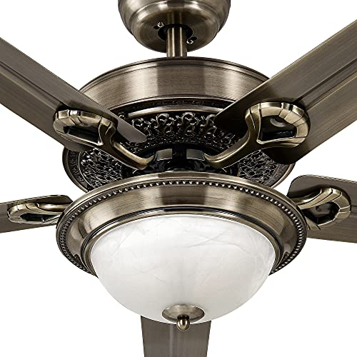YITAHOME Outdoor Indoor Ceiling Fan with and Remote 48 Inch Reversible Metal Fanlight with Color Adjustable LED Light, 3 Speeds, Timing, Balance Clips (Oil-Rubbed Bronze)