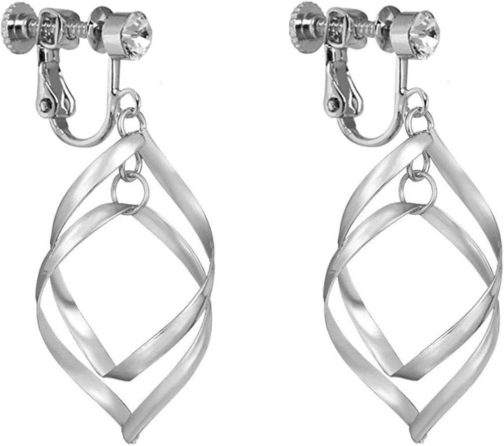 Double Linear Loops Design Classic Twist Wave Clip on Earrings Tiered Dangle for Girls