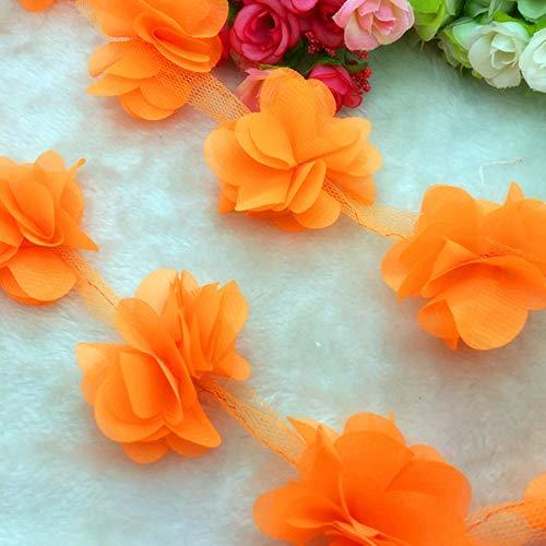 1 Yard Lace bloem Chiffon trouwjurk bruids stof Lace Trim DIY Baby haarband, oranje