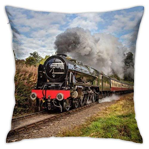 asdew987 Funda de almohada decorativa con diseño de tren de vapor escocés, 45,7 x 45,7 cm