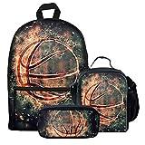 chaqlin - Juego de mochila para niños para libros escolares, bolsa de almuerzo aislada, para mantener la comida caliente, diseño de baloncesto, Tela, Estampado-16 (3 piezas/juego), Talla única