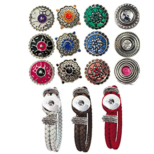 Sunsa Damen Mädchen, Click-Buttons Druckknöpfe Chunks Set für: Armbänder & 12 klick Buttons. Schmuck Sets sind tolle Schwester/Oma/Mama Geschenk Frauen