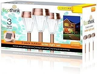 Ecothink 3-Pack Outdoor Solar Light Set Long Lasting LED Bulb Technology Illuminate Yards, Pathways, and More.