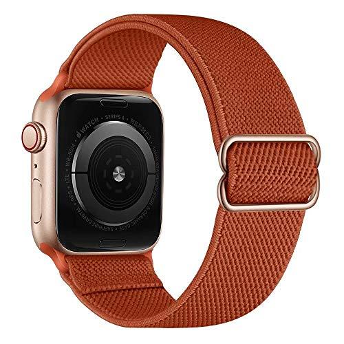 VeveXiao Sport Solo Loop Band Compatibile con Apple Watch SE Strap 40mm 38mm, elastico regolabile intrecciato elastico cinturino di ricambio per iWatch Serie 6/5/4/3/2/1 e Oro rosa, colore: Arancione