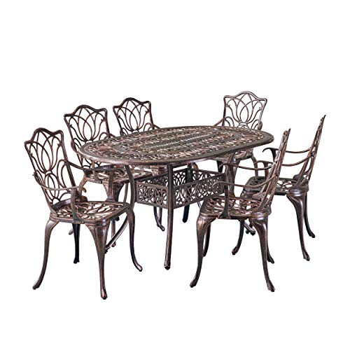 Christopher Knight Home Haitian Cast Aluminum Outdoor Dining Set, 7-Pcs Set, Copper