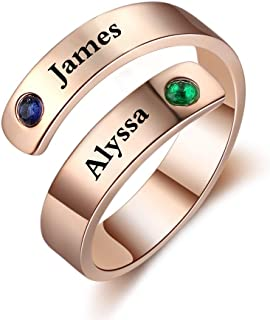 Fortheday Personalized Spiral Twist Ring Engraved Names BFF Wrap Rings with 2 Simulated Birthstones for Women Adjustable Best Friends Promise Rings for Her