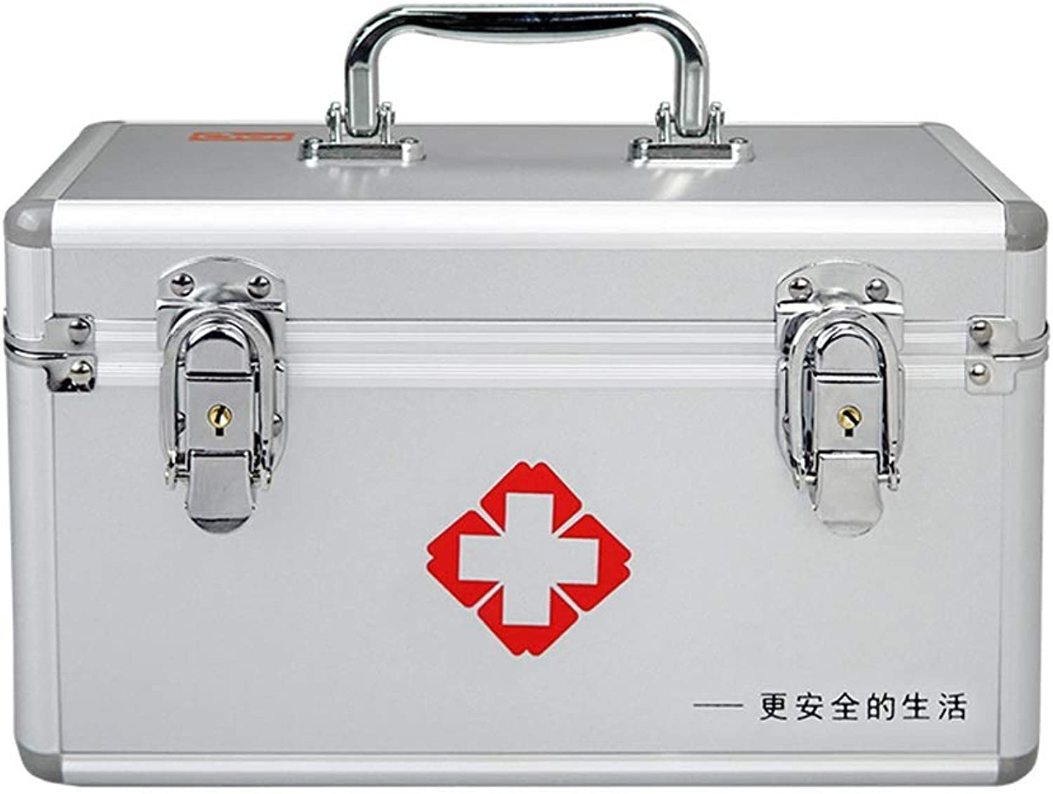 Djyyh First Aid Kit Storage Box, Lockable 2 Layer First Aid Case, Aluminum Frame Medical Storage Container Box (Size   14 Inch)