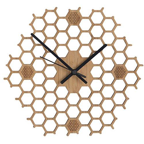 BU Products Wanduhr in offener Bienenwaben-Form - Kreatives und modernes Design aus Bambus/Holz - Leise ohne Ticken - Sechseckig mit offenem Rand