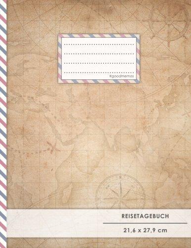 """Reisetagebuch: DIN A4, """"World Map"""", 70+ Seiten, Softcover, Register, Kontaktliste • Original #GoodMemos Travel Diary • Reiselogbuch zum Selbstgestalten"""