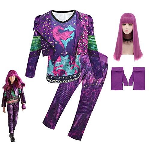 Descendientes 3 Disfraz de Dibujos Animados Audrey Mal UMA Halloween Cosplay Conjunto de Mono Traje Gráfico 3D Vestido con Accesorios Disfraz de Fiesta de Halloween