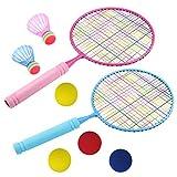ZOYJITU, set da badminton per bambini, racchetta da badminton, giocattolo per bambini con 2 racchette da badminton (2 badminton + 4 palline di ricambio)