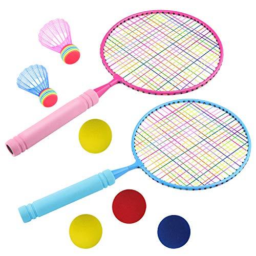 ZOYJITU Set de bádminton para niños, raqueta de bádminton y juguete de bádminton con 2 raquetas (2 bádminton y 4 pelotas de repuesto)