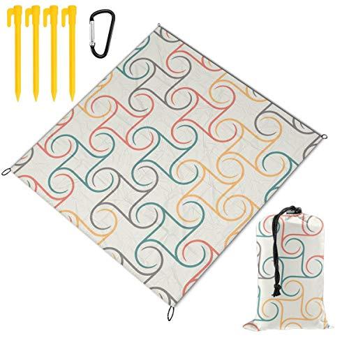 Best Buy! Hucuery Picnic Blanket 59 X 57 in Spherical Repetitive Wallpaper Vintage Foldable Waterpro...