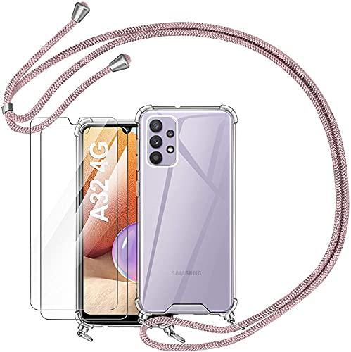 AROYI Funda con Cuerda Compatible con Samsung Galaxy A32 4G y 2 Pack Protector Pantalla, Carcasa Transparente TPU Silicona Case con Colgante Ajustable Collar Correa de Cuello Cordón (Oro Rosa)