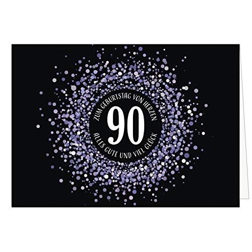 Große XXL (A4) Glückwunschkarte zum 90. Geburtstag - Konfetti Look Lila auf schwarz/mit Umschlag/Edle Design Klappkarte/Glückwunsch/Happy Birthday Geburtstagskarte/Extra Groß/Edle Maxi Gruß-Karte